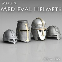 Merlin's Medieval Helmets 3D Models 3D Figure Essentials Merlin_Studios