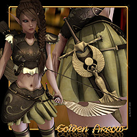 Golden Arrow 3D Figure Assets 3D Models Val3dArt