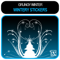 Grungy Winter - Wintery Stickers Themed 2D And/Or Merchant Resources -dp-