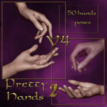 Pretty Hands 2 for v4 3D Figure Assets ilona