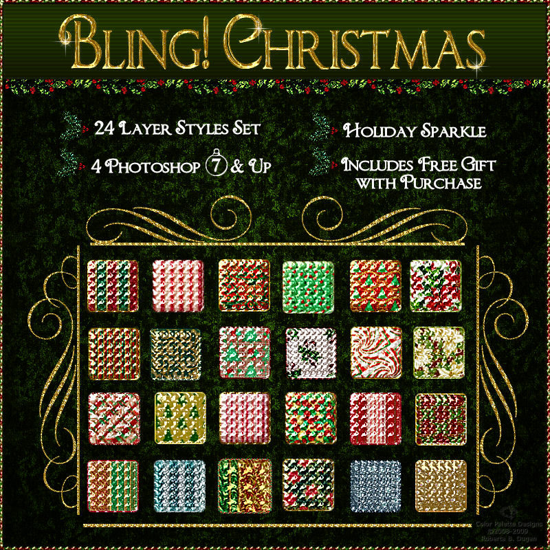 Bling! Christmas Layer Styles w/Free Gift