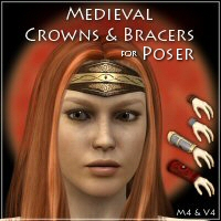 Merlin's Medieval Crowns & Bracers 3D Figure Essentials 3D Models Merlin_Studios