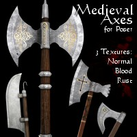 Merlin's Medieval Axes 3D Models 3D Figure Essentials Merlin_Studios
