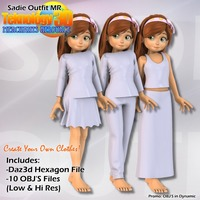 T3D Sadie Outfit MR 2D 3D Figure Essentials teknology3d