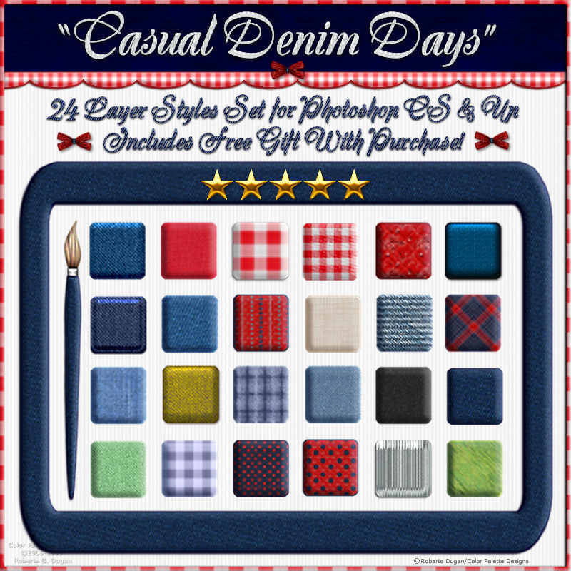 Casual Denim Days Layer Styles with Free Gift for Photoshop CS & Above