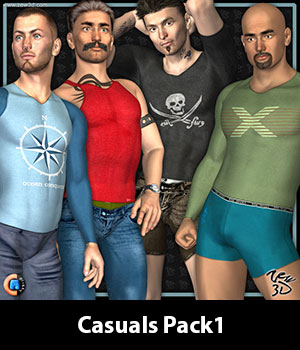 Casuals Pack1 for CLOTHIM Hybrid 3D Figure Assets zew3d