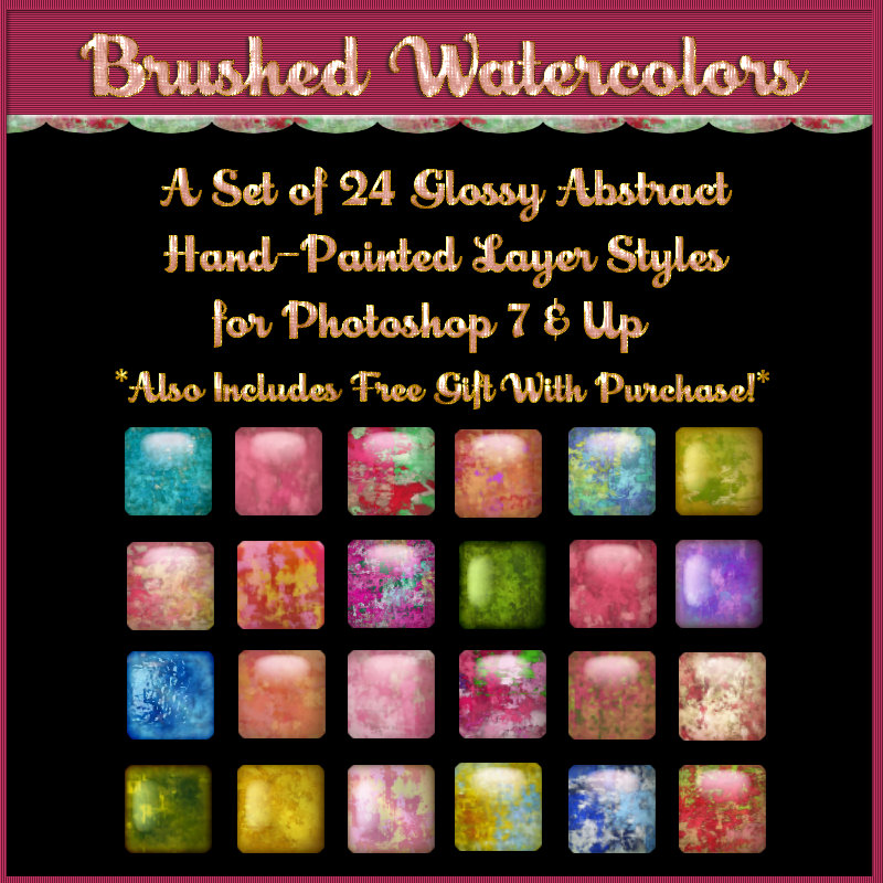 Brushed Watercolors Layer Styles with Free Gift