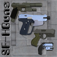Sci-Fi Handgun Set 3D Models Richabri