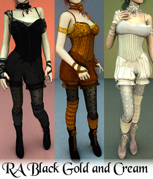 RA Black Gold and Cream 3D Figure Assets RAGraphicDesign