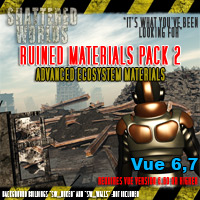 SW_Ruined Materials Pack 2, Advanced Ecosystem Materials Themed Props/Scenes/Architecture Software MRX3010