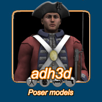 American Revolution soldiers 3D Figure Essentials 3D Models adh3d
