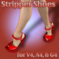 Stripper Shoes 3D Figure Assets LunaFaye