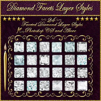 BLING! Diamond Facets Layer Styles 2D Graphics 3D Models fractalartist01