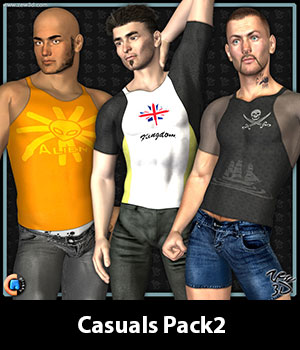 Casuals Pack2 for CLOTHIM Hybrid 3D Figure Assets zew3d