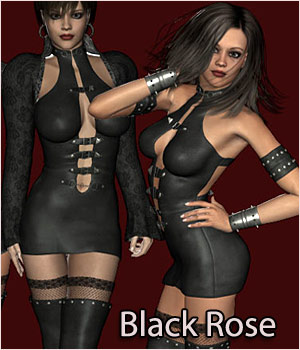 Black Rose Gothic Clothing for V4 3D Figure Assets RPublishing