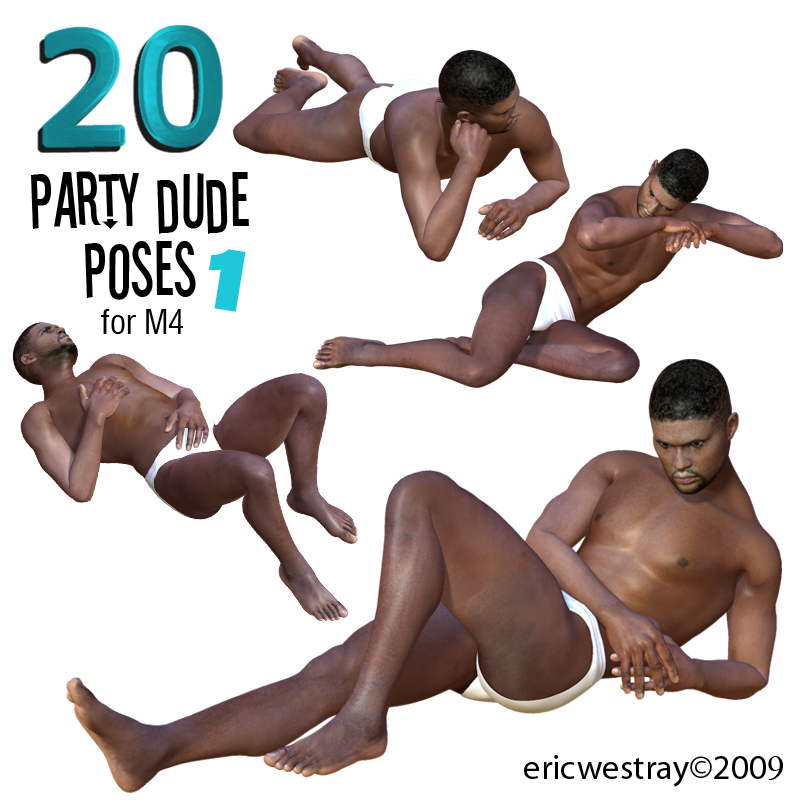 20 Party Dude Natural Poses 1 for M4
