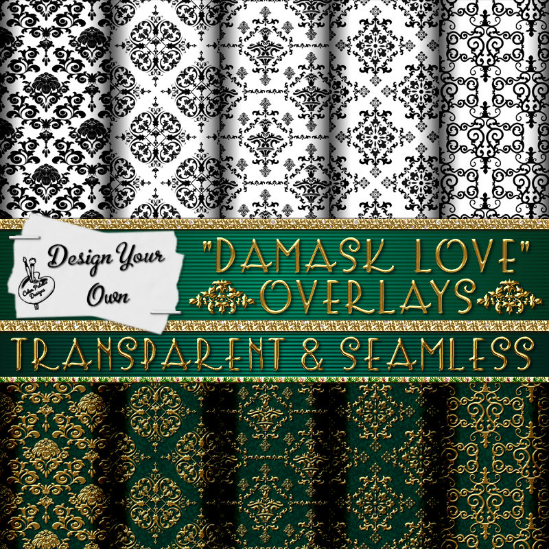 Damask Love Seamless & Transparent Overlay Templates
