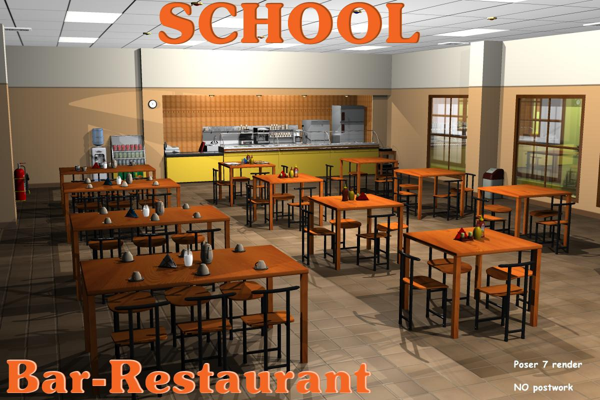 School bar restaurant 3d models 3d figure assets greenpots for Food bar 3d model