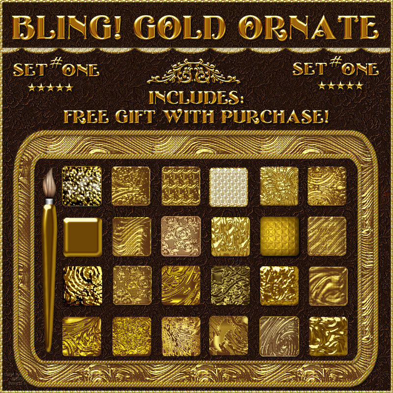 Bling! GOLD ORNATE Layer Styles {Set #1} w/Free Gift