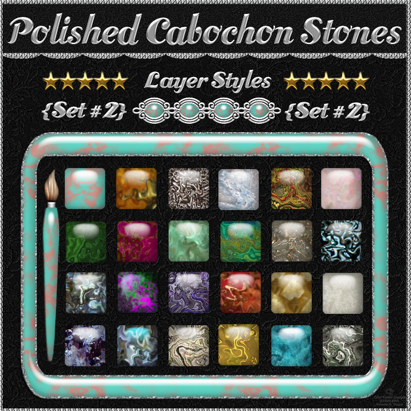 Polished Cabochon Stones {Set #2} Layer Styles