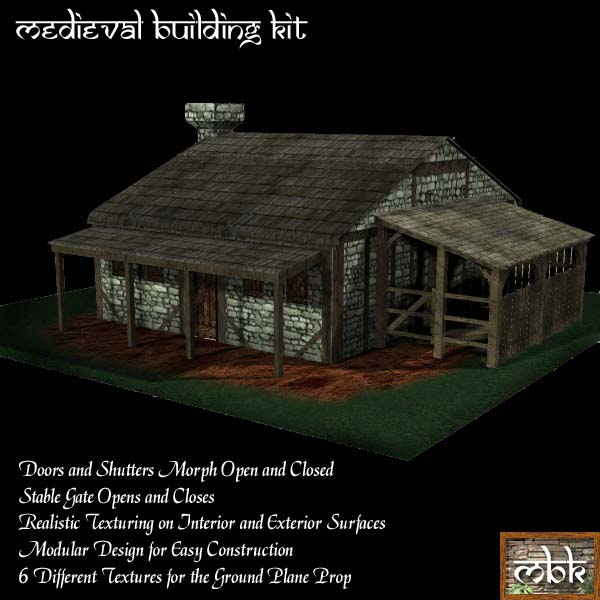 Medieval Building Kit Small Farmhouse Kit Poser Daz