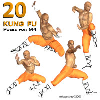 20 Kung Fu Poses for M4 3D Figure Assets ericwestray