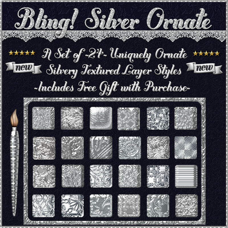 Bling! SILVER ORNATE Layer Styles w/Free Gift for Photoshop 7 & Above