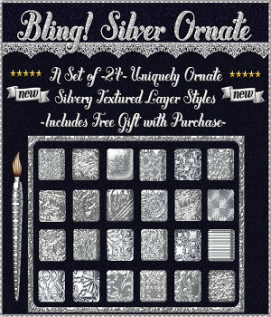 Bling! SILVER ORNATE Layer Styles w/Free Gift for Photoshop 7 & Above 2D Graphics fractalartist01