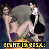 Bewitching Pinup Poses and Props Bundle 3D Figure Assets 3D Models kaleya