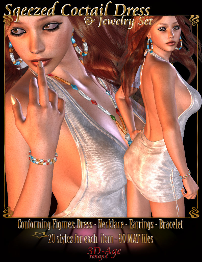 Squeezed Coctail Dress & Jewelry Set - V4,A4,G4