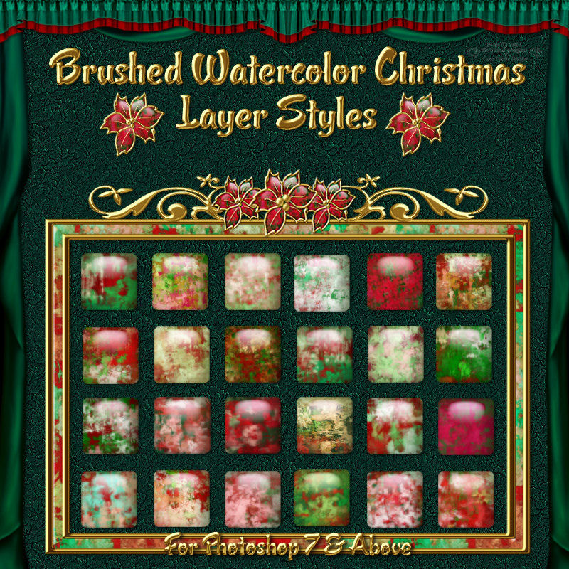 Abstract Brushed Watercolor Christmas Styles for Photoshop 7 & Above