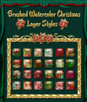 Abstract Brushed Watercolor Christmas Styles for Photoshop 7 & Above 2D Graphics fractalartist01