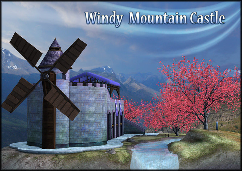 Windy Mountain Castle- Complete Fantasy Scene