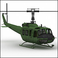 Huey Type Helicopter (Poser, Vue & OBJ) Software Transportation Themed RPublishing