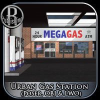 Urban Gas Station (Poser, OBJ & LWO) Props/Scenes/Architecture Themed RPublishing