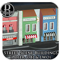 Street Scene Buildings Pack (Poser, OBJ & LWO) 3D Models RPublishing