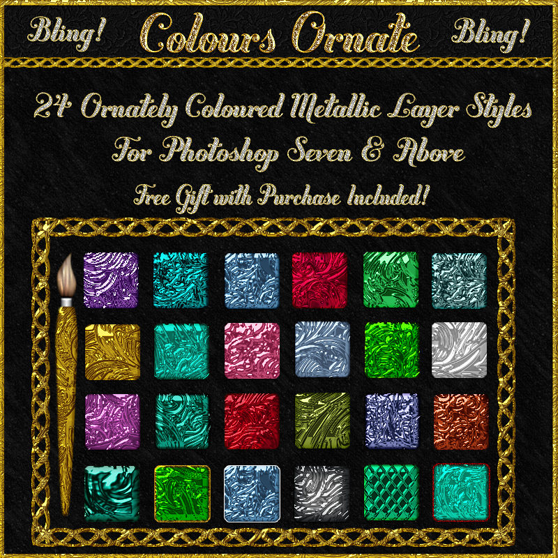 BLING! Colours Ornate Layer Styles w/Free Goodies for Photoshop 7 & Above