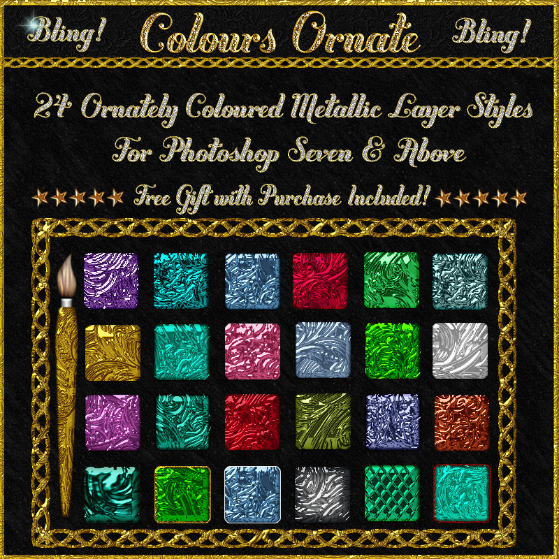 BLING! Colours Ornate Layer Styles w/Free Goodies for