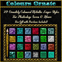BLING! Colours Ornate Layer Styles w/Free Goodies for Photoshop 7 & Above 2D 3D Models fractalartist01