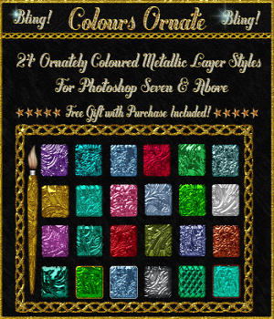 BLING! Colours Ornate Layer Styles w/Free Goodies for Photoshop 7 & Above 2D Graphics fractalartist01