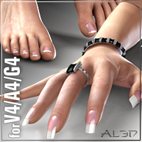 New Nails for V4 3D Figure Assets 3D Models _Al3d_