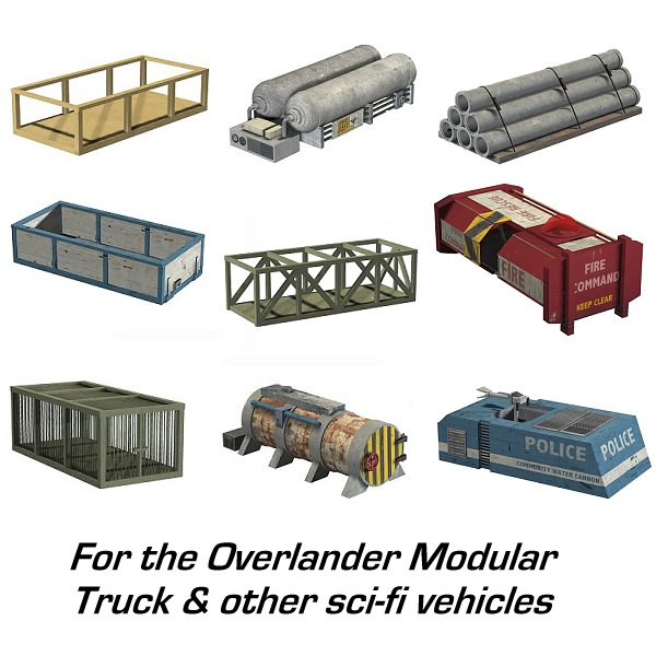 Addon Pack 1 and 2 for the Overlander Modular Sci-Fi Truck