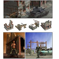 Ruined Buildings - for Poser 3D Models mrsparky