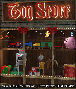 Toy Store Window and Toys for DS and Poser 3D Models Sveva