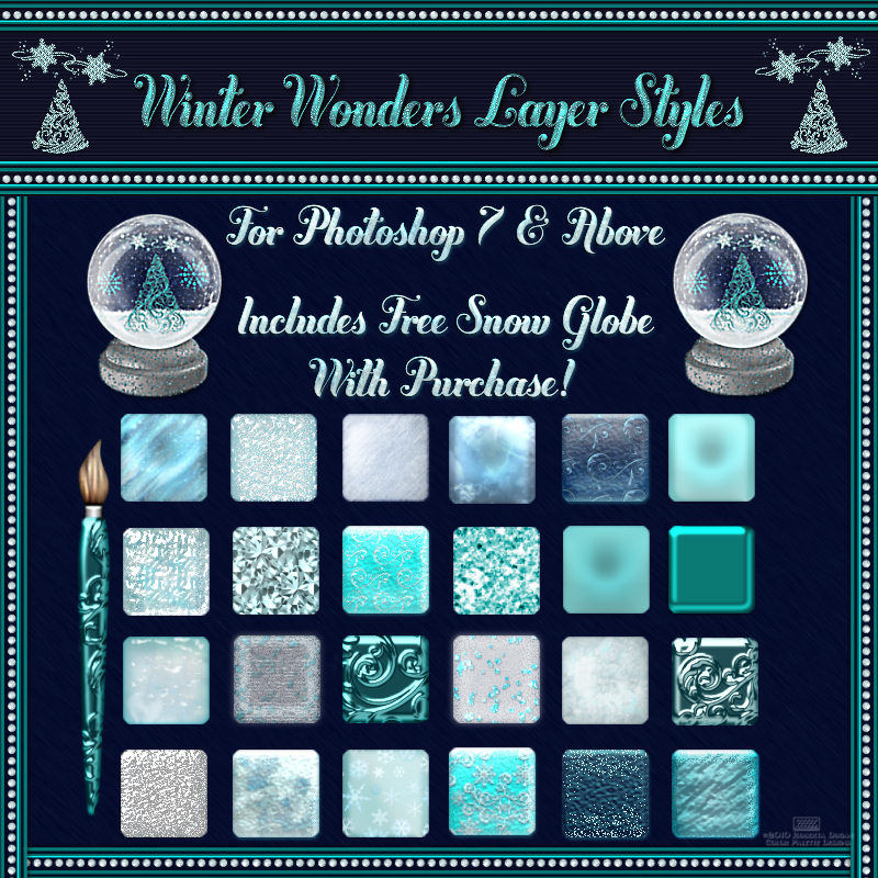 Winter Wonders Layer Styles w/Free Gift for Photoshop 7 & Above