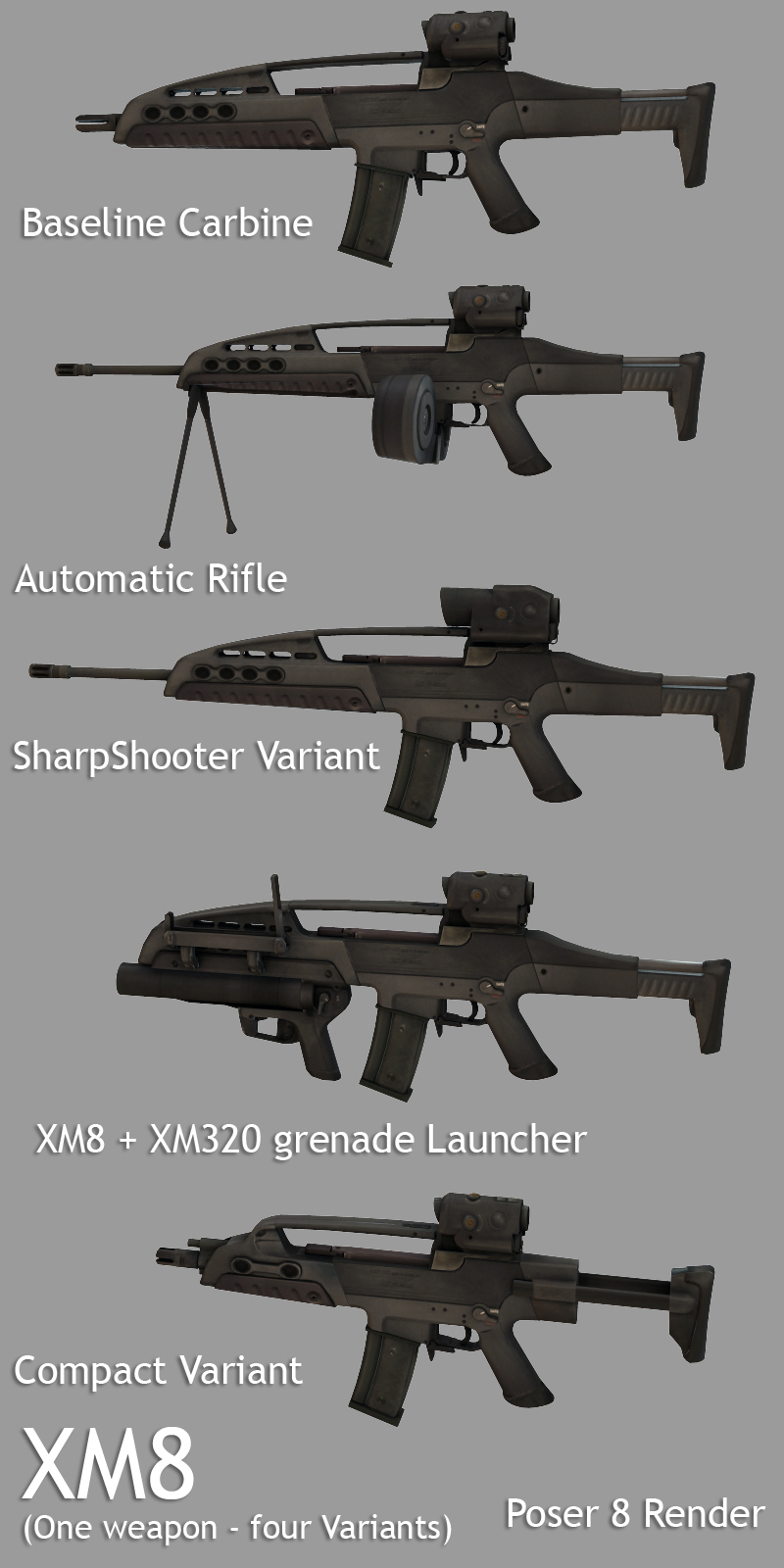 XM8 (One weapon - Four Variants) Themed Poser DAZ --WarTech--