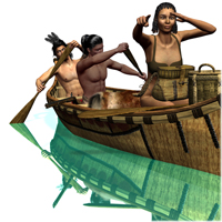 Trapper Canoe Action 3D Models 3D Figure Essentials Don