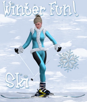 Winterfun for V4 - The Skis 3D Figure Assets 3D Models Digital-Lion