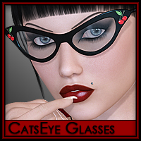 CatsEye Glasses 3D Models 3D Figure Essentials Silver