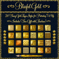 Blissful Gold Layer Styles for Photoshop 7 & Above w/Free Gift 2D 3D Models fractalartist01